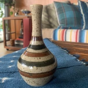 Vintage Stripe Pottery Vase, hand thrown stem vase